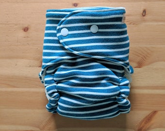 Ocean Blue Knit OBF Hybrid Fitted Diaper - OS Hybrid Fitted Cloth Diaper - OS Fitted Diaper with Fold Down Rise