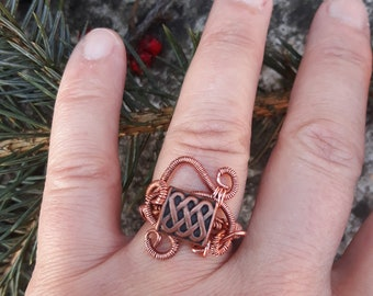 copper rectangle bead wire wrapped boho ring