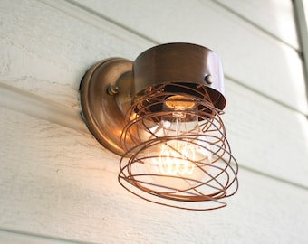 Unique Wall Sconce; Porch Light; Wire; Light Fixture; Bronze; Rustic;