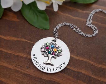 Family Tree Birthstone Necklace | Birthstone Necklace For Mom | Grandma Gifts | Birthstone Tree Necklace | Family Tree Necklace | Mom Gifts