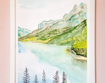 Quiet Mountains Original Watercolor Painting Art Work by AliiArtColors