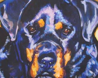 "ROTTWEILER portrait dog art print of pop art painting bright colors 8x8"""