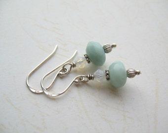 Aquamarine Earrings, Turquoise Earrings, Swarovski Crystal Earrings, Seafoam Earrings, Swedish Design, Made in Sweden
