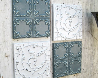 """Antique Tin ceiling tiles, SET of 4) 12"""" x 12"""" framed Blue and white wall art decor, Architectural salvage. Metal vintage ceiling tiles."""