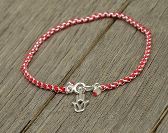 Sterling Silver Hamsa Charm on Link Chain with Red String