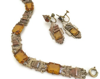 Art Deco Amber Topaz Glass Bracelet and Earrings Set