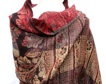 Elegant Pure Wool Jamawar Pashminas with Paisley Traditional Design Wrap
