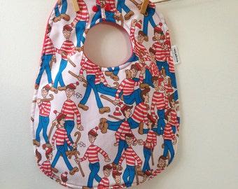 Wheres Waldo Baby Gift - Upcycled Bib from Vintage Sheets