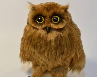 Owl, Stuffed Animal, Art Doll, Owl Art Doll, Owl Plush, Owl Sculpture, Animal Lover Gift, Gift for Her, Handmade Gift, Handmade