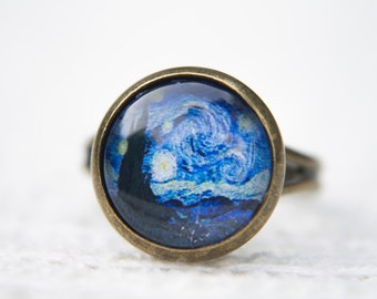 Van Gogh Ring, Starry Night, Art Ring, Statement Ring, Adjustable Ring, Glass Dome Ring, Vincent Van Gogh, Blue Ring