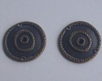 2 Entre-deux en métal cuivre 22 mm -