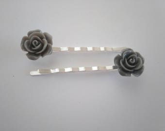 Duo of hair clips - pink grey