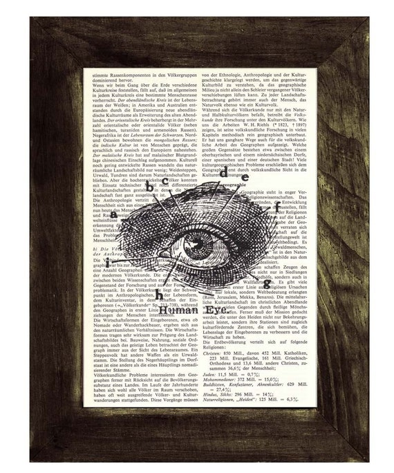Upcycled Dictionary Page Upcycled Book Art Art Print Upcycled Book Print Vintage Art Print Eye Anatomy sudy SKA038