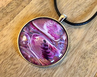 Purple, Magenta, White, Copper, Large 38mm Hand Painted Pendant Necklace, Wearable Art, Jewelry, Gifts for Her