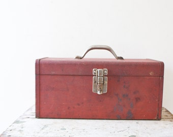 Industrial Metal Toolbox - Kennedy Red Tool Box Case Tackle Box Steel Rusted Patina Ratrod Storage Container