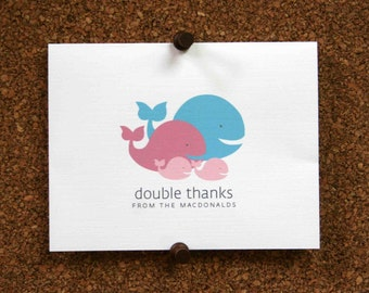 Whale Baby Twins Thank You Cards. Custom Whales Twin Baby Shower Thank You Cards. Twin Baby Thank Yous. Personalized (Set of 10)
