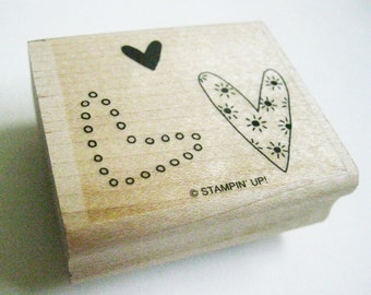 Three Hearts Stampin Up Rubber Papercraft Stamp Carved Wood Mount Destash Craft Supplies Scrapbooking Collage Stamping Supply Love You Much