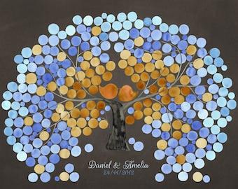 Custom Wedding Guest Book Tree art Print - Guest book alternative gift Guest Tree - DOUBLE FLOWERING NECTARINE