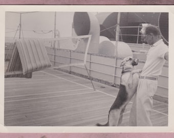 Vintage Photo, Man's Best Friend, German Sheperd Jumping on Man, Vernacular, Ship, Boat, Pet, Dog, Animal, Playing, Tongue, Canine, Cute