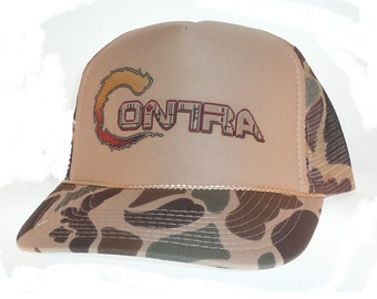 Contra Trucker Hat Mesh Hat camo video game hat New adjustable