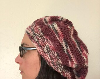 Striped Comfy Beanie - Multi-Coloured Pink/Mauve