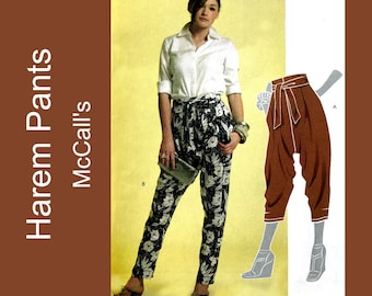 Harem Pants Sewing Pattern, Womens Drop Crotch Hip Hop Pant, Yoga Genie MC Hammer UNCUT McCalls M5858 Size 6-8-10-12-14