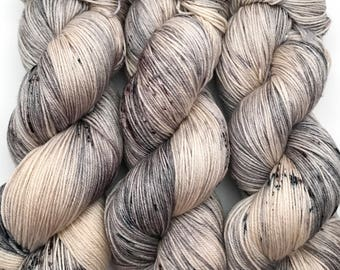 "Hand Dyed Yarn ""Silverbirchenstick"" Grey Brown Tan Ecru Black Speckled Merino Silk Fingering Superwash 438yds 100g"
