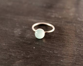 Aqua Chalcedony Thick Gemstone Ring - ONE RING (Gold Rose Gold Sterling Silver March Birthstone Stacking Ring Gifts For Her Under 50)