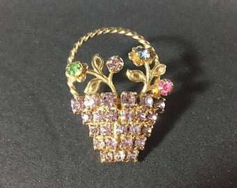 ON SALE Brooch Basket Florals Colored Stones Early Mid Century