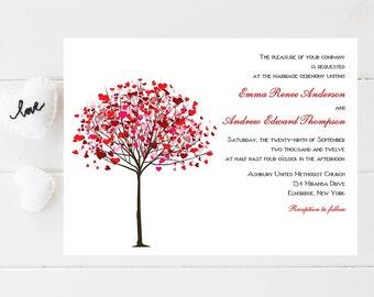 Whimsical Tree Wedding Invitation - Heart Wedding Invitations - Wedding Invitations - Whimsical Wedding Invites - Wedding Invites - Weddings