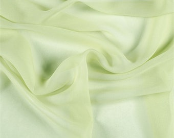 Peridot Silk Chiffon, Fabric By The Yard