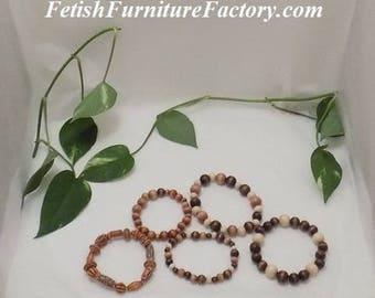 Bracelet, Anklet, Hotwife Anklet, Beaded Anklet, Beaded Braclet, Wood Bead Jewelry, Jewelry, Bohemian Jewelry, Boho, Stretch Bracelet, Kink