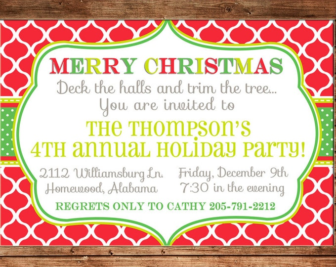 Christmas Invitation Open House Company Party - Can personalize colors /wording - Printable File or Printed Cards