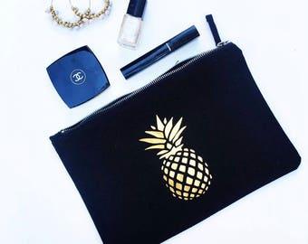 star makeup bag, pineapple makeup bag, clutch, accessory bag, black pouch, grey pouch, large clutch, metallic makeup bag, pouch,