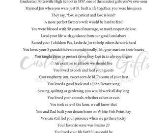 Custom Memorial Poem