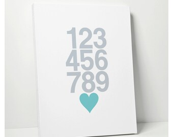 CANVAS ART: Nursery Numbers 123 Poster - Modern Kids Decor Wall Art Baby - Stretched Canvas Art Sign