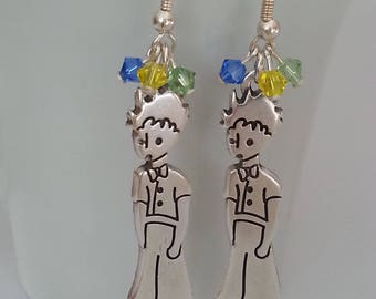 Prince with green, yellow and blue Swarovski crystal earrings