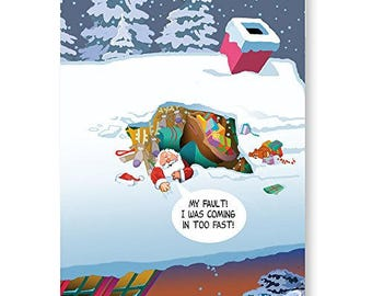Santa Makes A Bad Landing - Funny Christmas Cards - 18 Christmas Cards and Envelopes - 20081