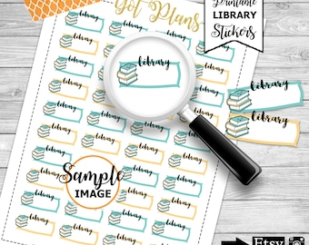 Library Stickers, Planner Stickers, Printable Planner Stickers, Printable Library Stickers, Library Labels for Agendas