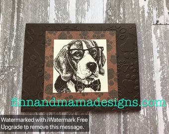 Intelligent Dog, Paws, Four-Legged, Fan, Father's Day, Happy, Father's Day, Masculine, Men, Greeting Card, Stamped, Handmade