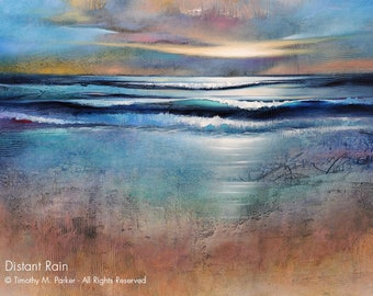 Abstract Seascape Fine Art Paper Print • DISTANT RAIN • Contemporary Landscape & Seascape Painting Reproduction • Abstract Beach Art
