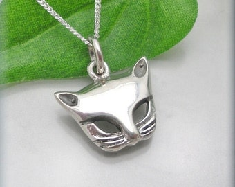 Silver Cat Necklace Pendant Kitten Jewelry Sterling Silver Cat Lover