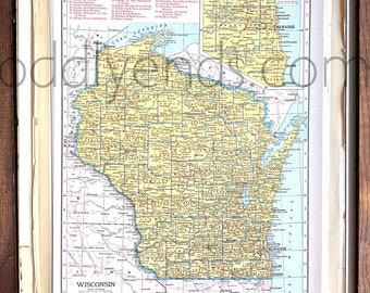 Vintage Wisconsin Map, 1945 Original Atlas Antique, Milwaukee, Green Bay, Sheboygan