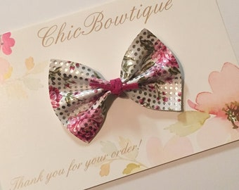 Pink Floral Silver Dot Mini Butterfly Bow