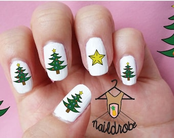 30 Christmas Tree Nail Decals  (Waterslide Nail Decal)