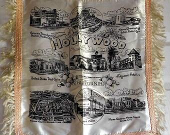 Vintage Hollywood California Souvenir Pillow Cover-1950s