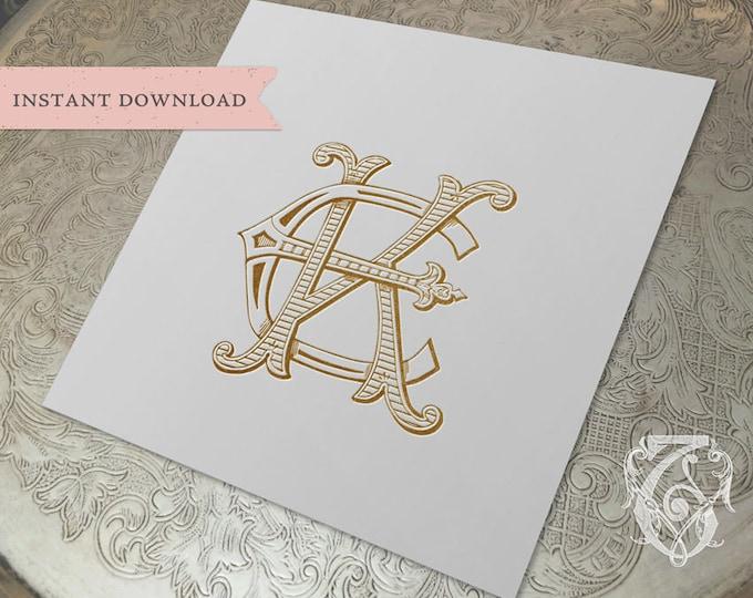 Vintage Wedding Monogram KE EK Digital Download K E