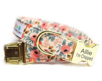 Floral Dog Collar, Les Fleurs Rosa Flora in Peach