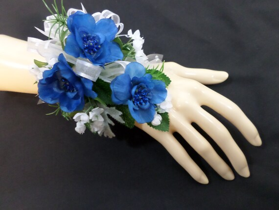 Wrist corsage silk blue flower corsage floral corsage mightylinksfo Gallery
