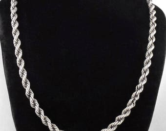 1960s - Large Vintage Sterling SIlver Twisted Rope Chain Necklace - 31.8 gr.